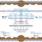 Polskie Towarzystwo Perdiodontologiczne certyfikat Szymon Chełstowski